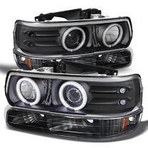 4PCS For Black 99-02 Silverado | 00-06 Suburban/Tahoe | CCFL Halo Projector LED Headlights + Bumper Turn Signal Lights