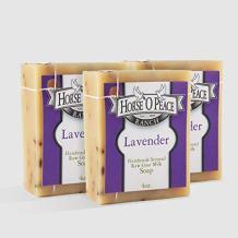 Handmade Herbal 100% Raw Goat Milk Lavender Soap 3 PACK (4.5oz./Bar)