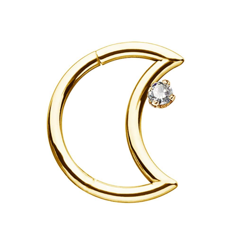 COCHARM 14K Solid Gold Daith Earring Moon Shape 16G Helix Tragus Piercing Septum Earring