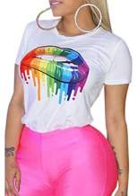 LETSVDO Women's Cute Short Sleeve Lips Print Loose T Shirt Letter Print Crop Top Tee for Girls