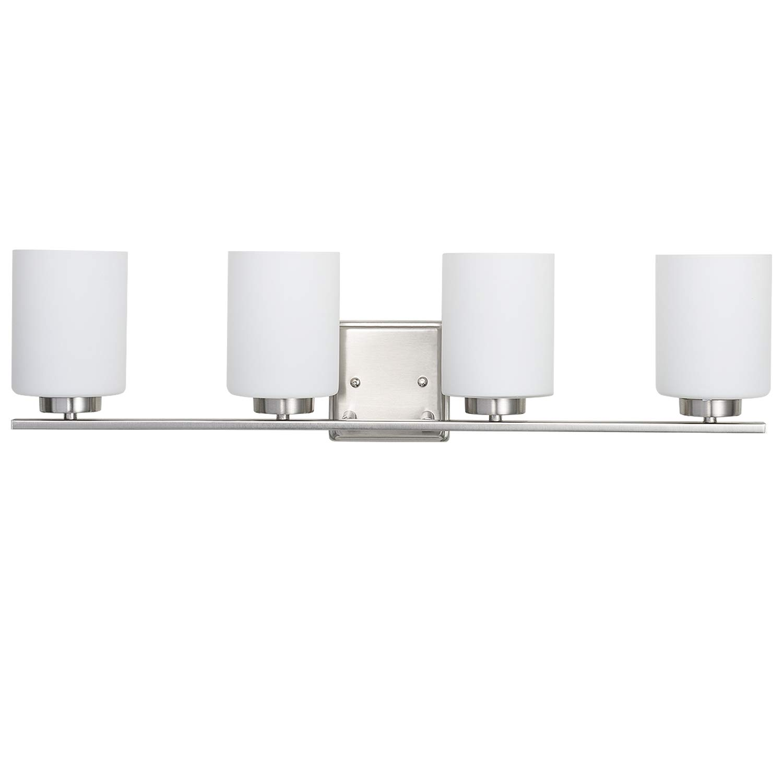 SUNNYFAIR Bathroom Lights Over Mirror with White Glass Shades, 4 Light Vanity Lighting Brushed Nickel
