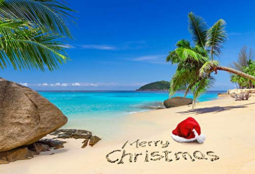 Laeacco 10x8ft Merry Christmas Backdrops Vinyl Photography Background Santa Hat Tropical Beach Blue Sky Island Coconut Tree Holiday Party Photo Shooting Studio Photo Studio