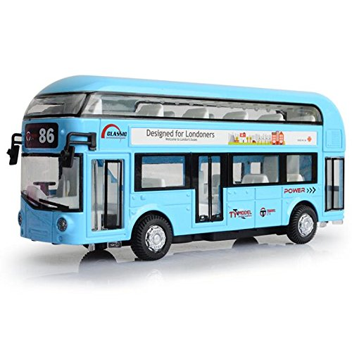 """ROMIRUS Pull Back City Bus Toy 7"""" London Double Decker Bus Routemaster City Tourist Closed Top Diecast with Lights Sounds and Openable Doors, 1/50 Scale Double Decker Bus Toy Boy Toys"""