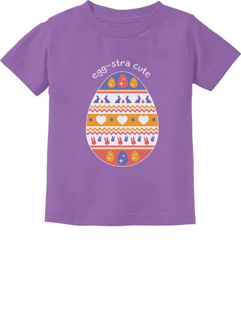Eggstra Cute Easter Tee Decorated Easter Egg Toddler Infant Kids T-Shirt 4T Lavender