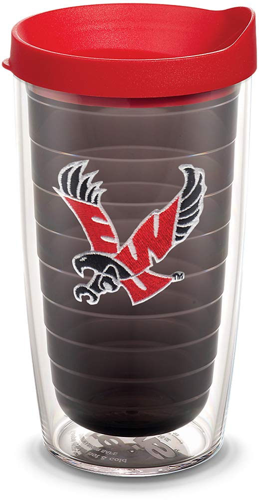 Tervis 1082308 Eastern Washington Eagles Logo Tumbler with Emblem and Red Lid 16oz, Quartz