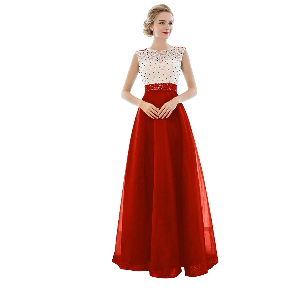 TS Women's A-Line Illusion Neck Floor Length Tulle Over Lace Beautiful Back Prom Formal Evening Dress with Beading Red
