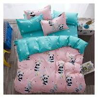 """KFZ Bed Set Baby Panda Print Kids Twin Bedding Set, 3PCs Include 1 Duvet Cover 66""""x86"""" (Without Comforter Insert) and 2 Pillow Cases, Cute Pink Bed Set for Girls"""