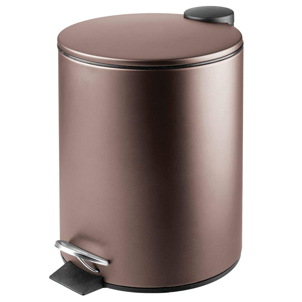 mDesign 1.3 Gallon Round Metal Step Trash Can Wastebasket, Garbage Container Bin for Bathroom, Powder Room, Bedroom, Kitchen, Craft Room, Office - Removable Liner Bucket - Bronze