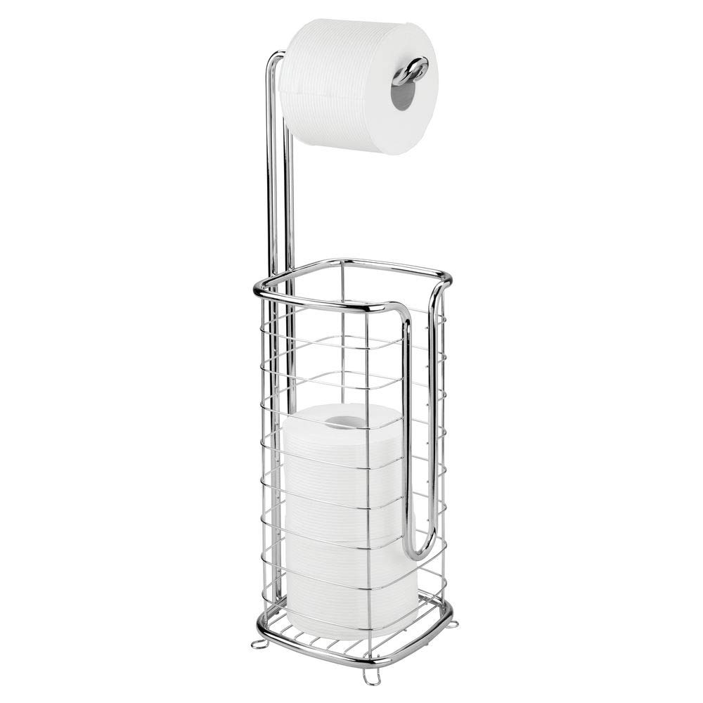 mDesign Free Standing Toilet Paper Holder Stand and Dispenser, with Storage for 3 Spare Rolls of Toilet Tissue While Dispensing 1 Roll - for Bathrooms/Powder Rooms - Holds Mega Rolls - Chrome