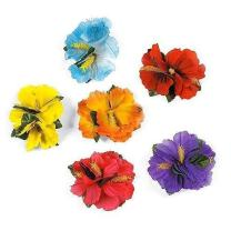Super Z Outlet Hula Girl Hibiscus Color Assorted Flower Island Theme Hair Clips Event Decoration Supplies (12 Pack)