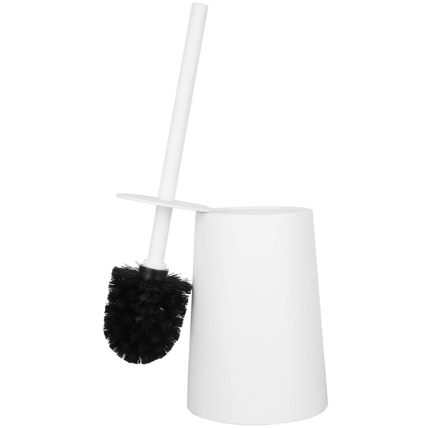 ROSOLI Toilet Brush, Toilet Brush and Holder for Bathroom Toilet Cleaning with 3600 Strong Bristles and 9.84 Inch Long Non-Slip Handle Toilet Cleaning Brush Kit (White)