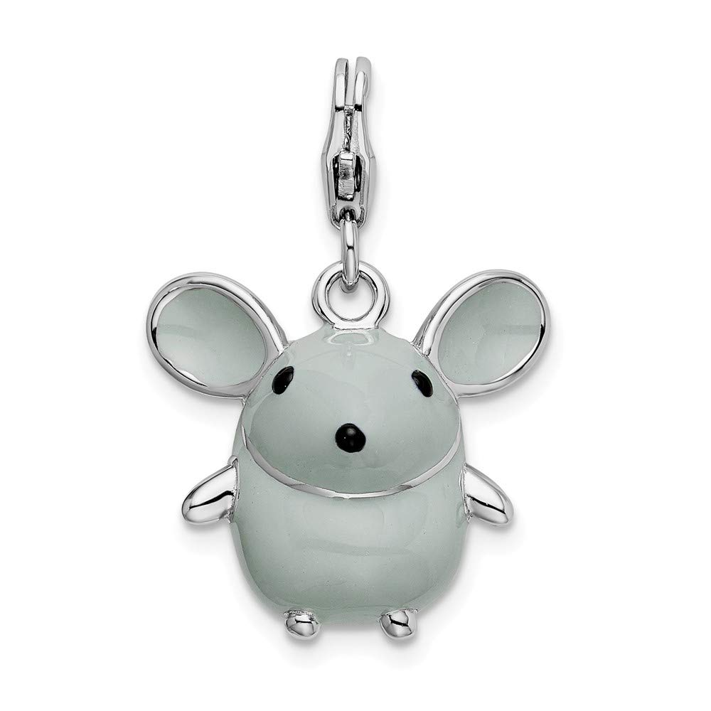 925 Sterling Silver Rh 3 D Enameled Grey Mouse Lobster Clasp Pendant Charm Necklace Baby Animal Fine Jewelry For Women Gifts For Her