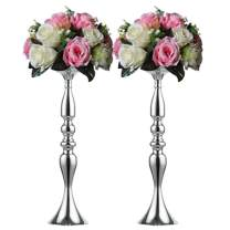 "Nuptio 2 Pcs Versatile Metal Flower Arrangement, Candle Holder Stand Set Candlelabra for Wedding Party Dinner Centerpiece Event Road Lead Restaurant Hotel Decoration (Silver, 19.7"" H)"