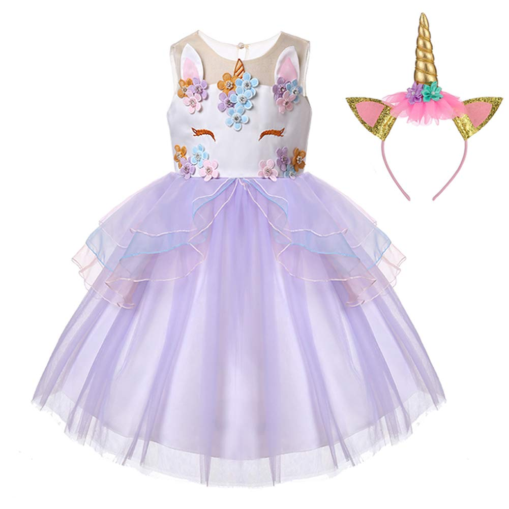 LZH Girl Unicorn Flower Dress Cosplay Costume Pageant Birthday Party Princess Dresses with Headband