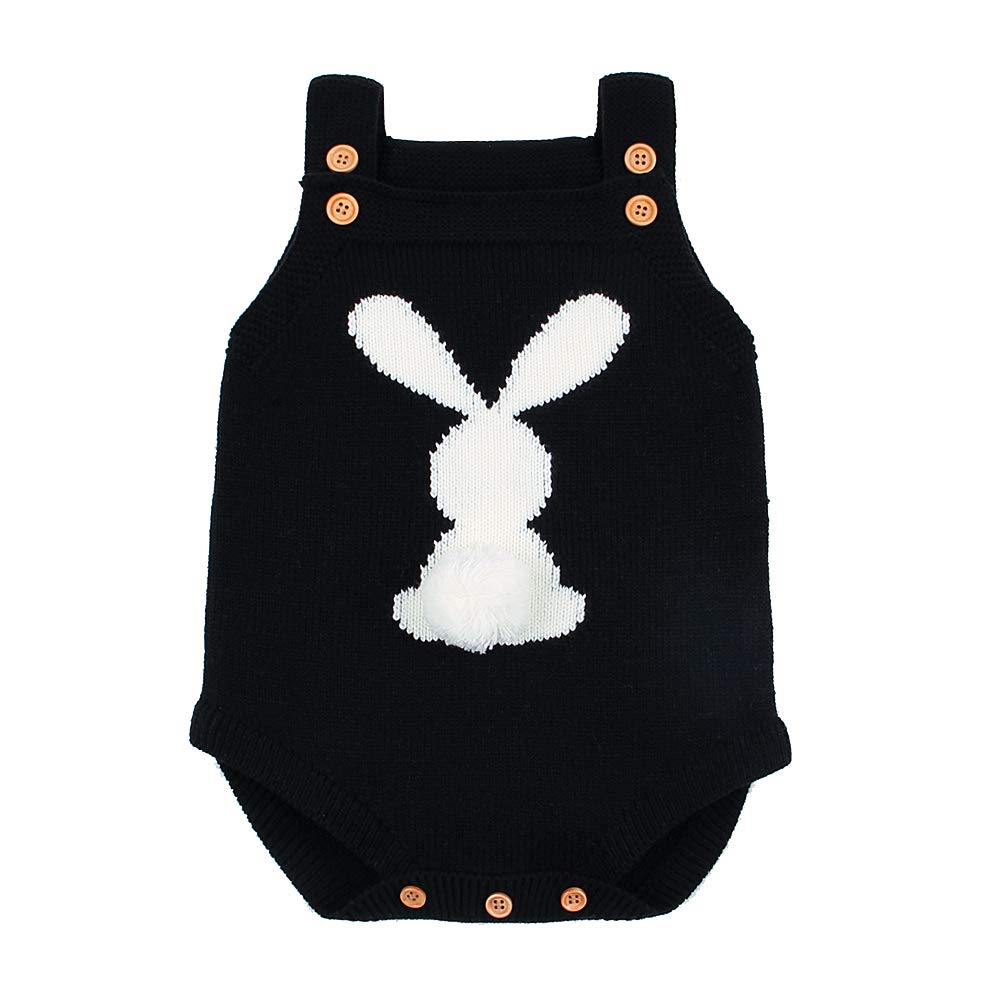 ROMPERINBOX Easter Baby Knit Romper Sleeveless Bunny Bodysuit Outfit Clothes Toddler Jumpsuit 0-24 Months
