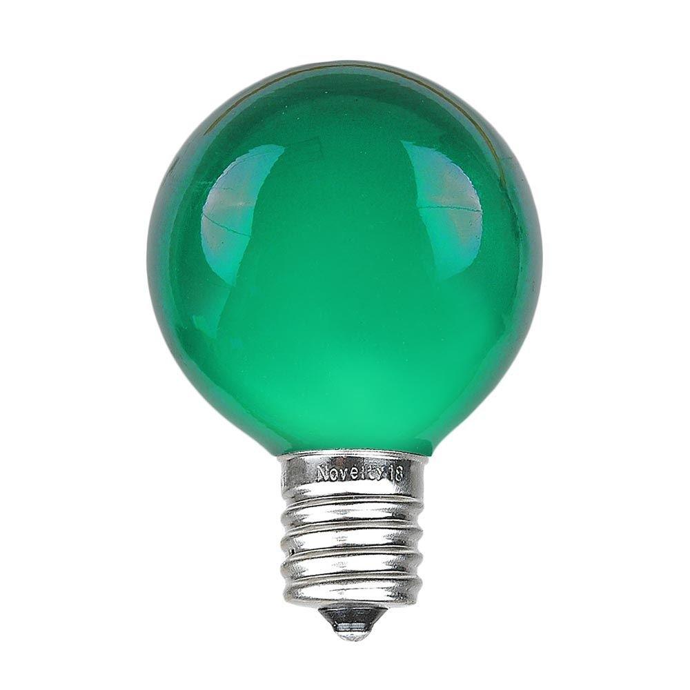 Novelty Lights 25 Pack G50 Outdoor Patio Globe Replacement Bulbs, Green, E17/C9 Intermediate Base, 7 Watt