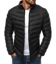 Mens Packable Down Jackets Classic Winter Puffer Lightweight Puffer Water Resistant Bomber Coat