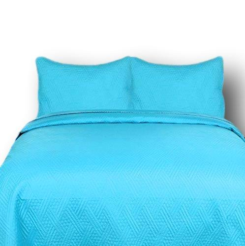 DaDa Bedding Reversible Thin and Lightweight Modern Turquoise Lagoon Quilt Set, Light Blue, Cal King, 3-Pieces