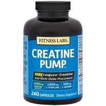 Fitness Labs Creatine Pump with L-Citrulline, L-Arginine, and Creapure Creatine Monohydrate - 240 Capsules