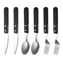 "QELEG Portable Utensils, Travel Flatware Set - 6 Pieces Durable Handle Flatware Set Knife Fork Spoon Stainless Steel Portable Travel Utensil for Travel/Camping Office Lunch, 7"" (Black)"