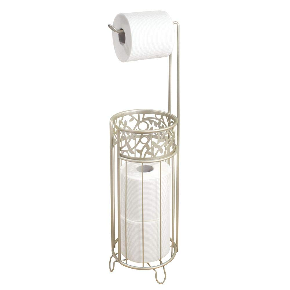"""iDesign Vine Metal Free Standing Toilet Paper Tissue Holder, Cannister for Kids', Guest, Master, Office Bathroom, 6.25"""" x 7"""" x 25"""" - Satin Silver"""