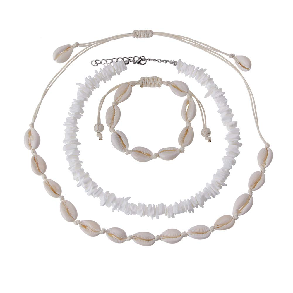 Anmyox Adjustable Puka Shell Necklace, Cowrie Shell Choker Necklace Bracelets Boho Seashell Pearls Hawaiian Jewelry Set for Women and Girls (3 Pack)