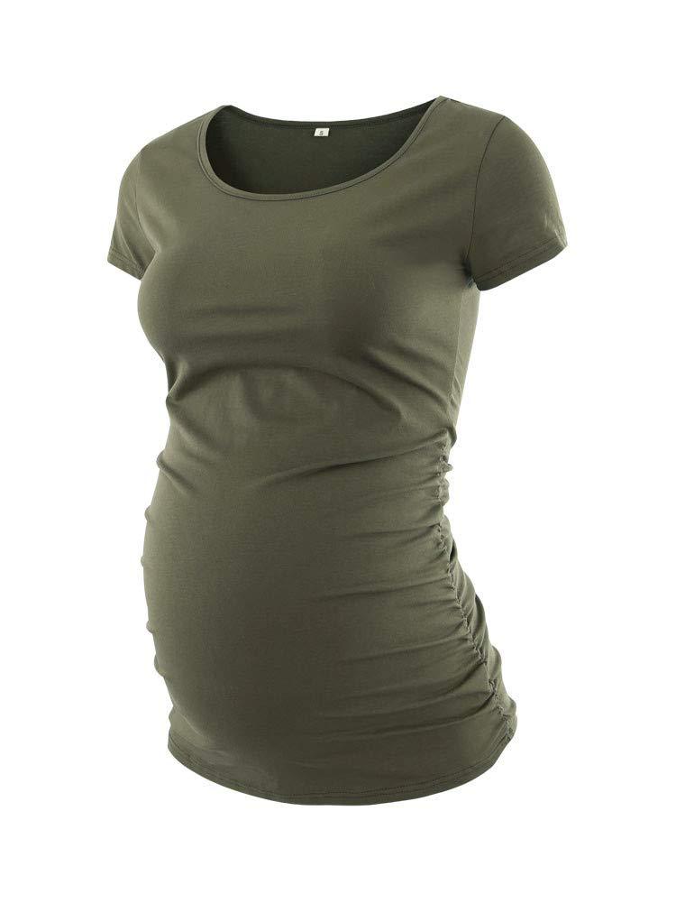 Liu & Qu Women's Maternity Classic Side Ruched T-Shirt Tops Mama Pregnancy Clothes