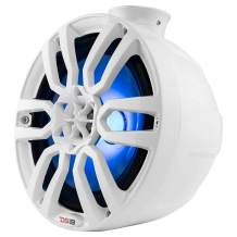 """DS18 NXLPS8W White Tower Pod Speaker - 8-Inch, 2-Way, 375W Max, 125W RMS, 1"""" Titanium Dome Tweeter, 100% UV Stable, IP65 Marine Grade Specs, 4 Ohms, Integrated RGB LED Lighting (2 Speakers)"""
