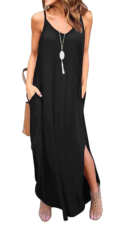I2CRAZY Dresses for Women Casual Summer A-line Maxi Dresses V Neck Casual Loose Dress - XL, Black