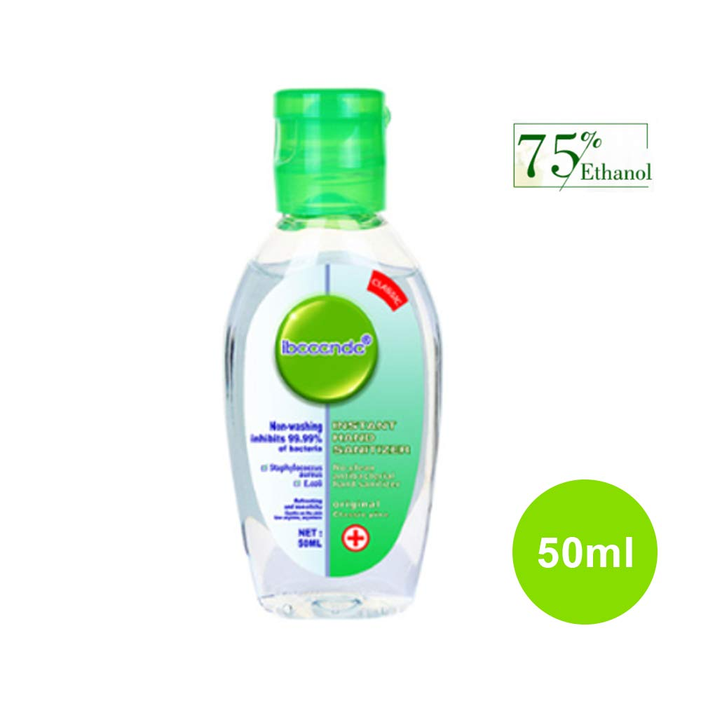 Cysincos Disposable No-Rinse Hand Wash Gel Hand Sanitizer Gel Wash Free Long-Lasting Quick Drying Liquid Hand Soap for Women Men (Green, 50ml)
