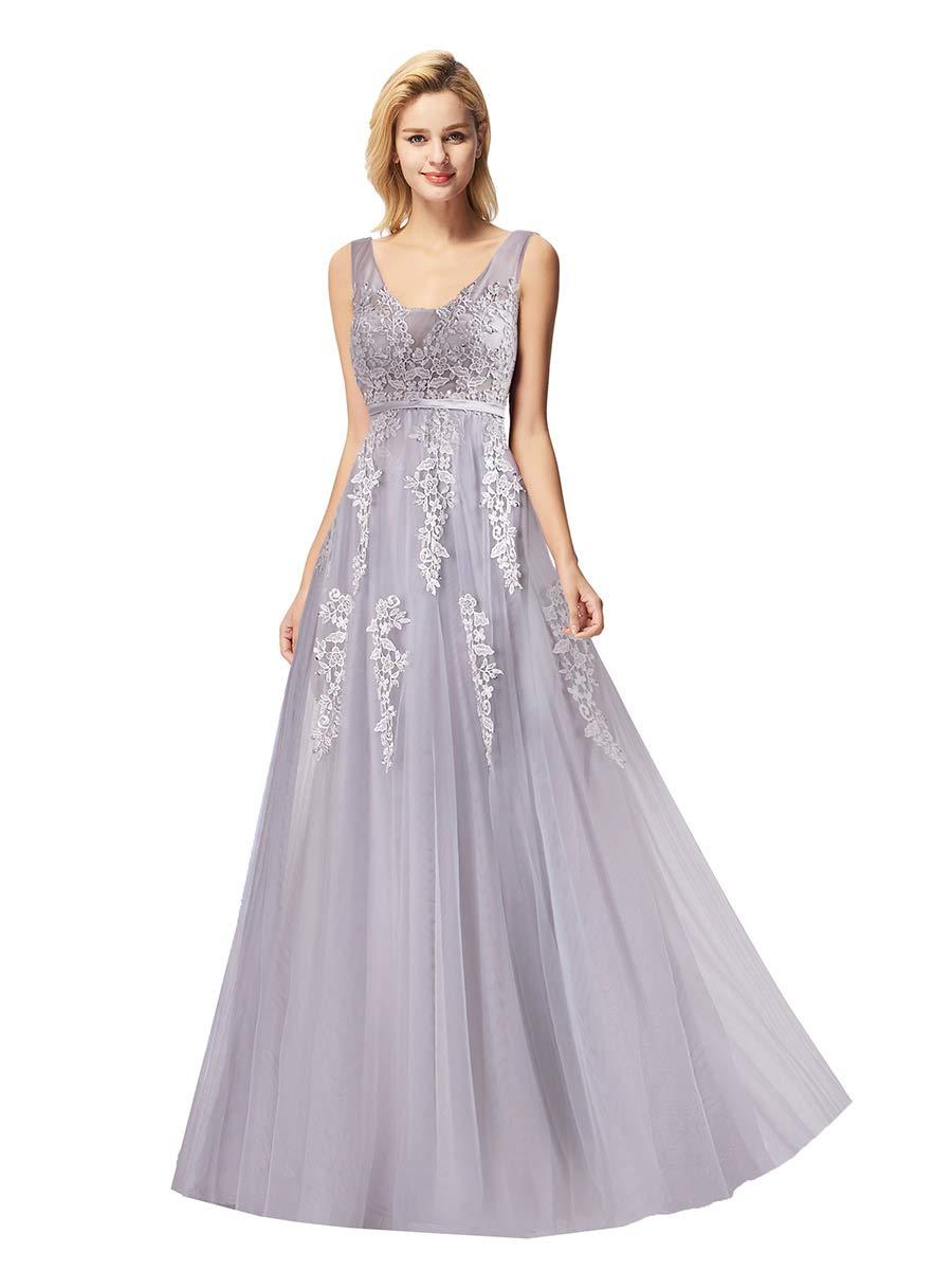 Alisapan Womens Prom Dresses V-Neck Tulle Long Formal Evening Dresses 7544