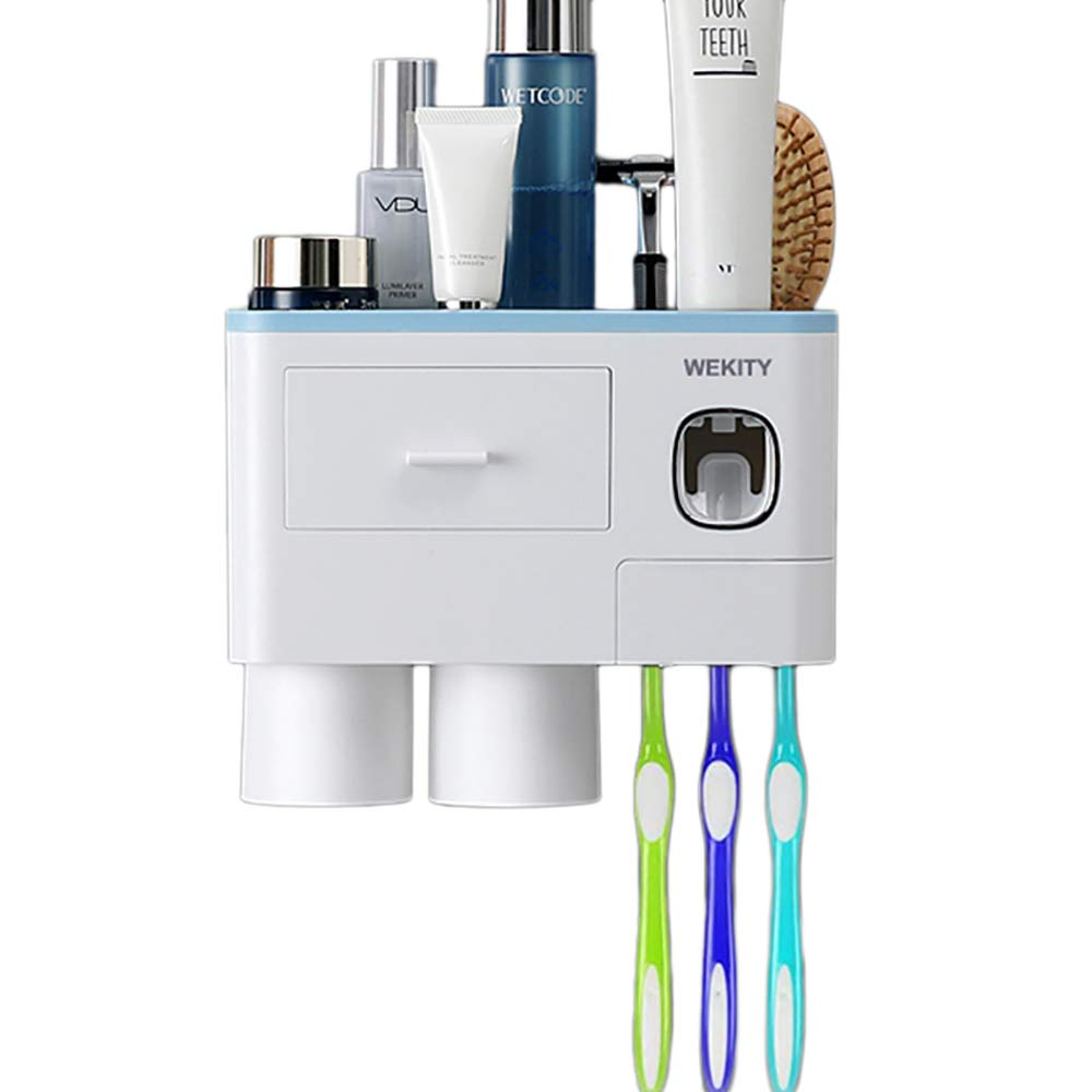 Wekity Multifunctional Wall-Mounted Toothbrush Holder, Automatic Toothpaste Dispenser Space Saving Toothbrush Organizer with Dust-Proof Cover, Cups and Drawers Cosmetic Organizer (2 Cups, Blue)