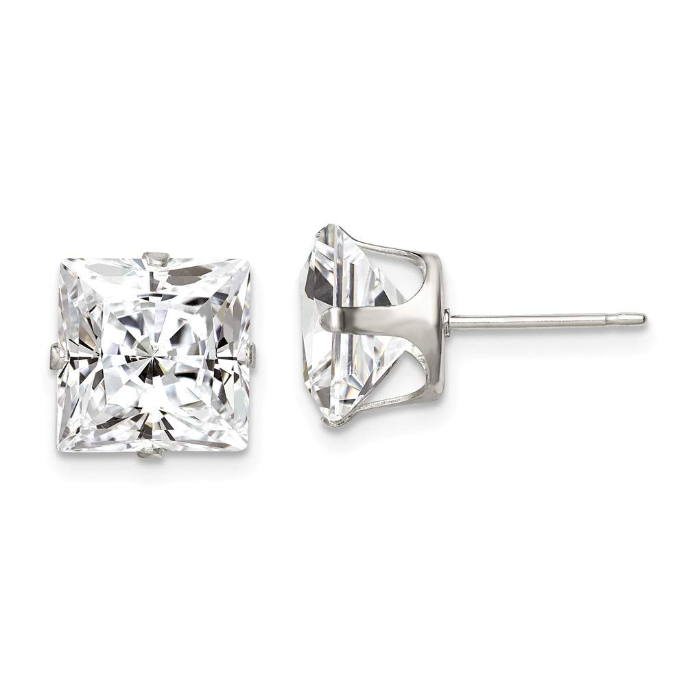 925 Sterling Silver 9mm Square Snap Set Cubic Zirconia Cz Stud Earrings Radiant Fine Jewelry For Women Gifts For Her