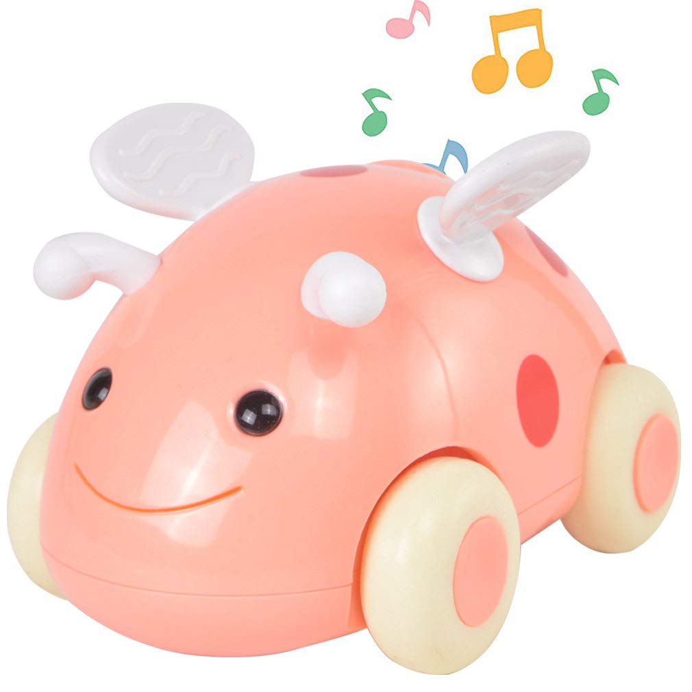 PBOX Electric Ladybug Car Toy,Push and Go Friction Powered Toy Cars,Music & Light Cute Cartoon Vehicles Gift for 3 4 5 6 Years Old Kids Boys Girls
