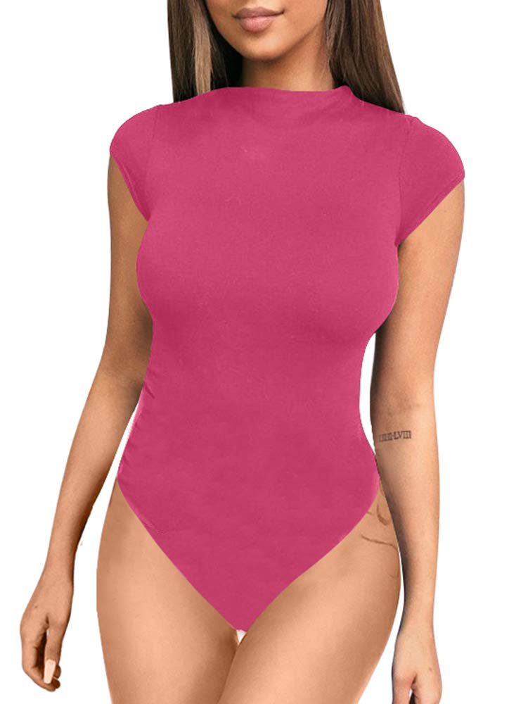 ZileZile Women's Sexy Bodycon Short Sleeve Scoop Neck Leotard Bodysuit Rose