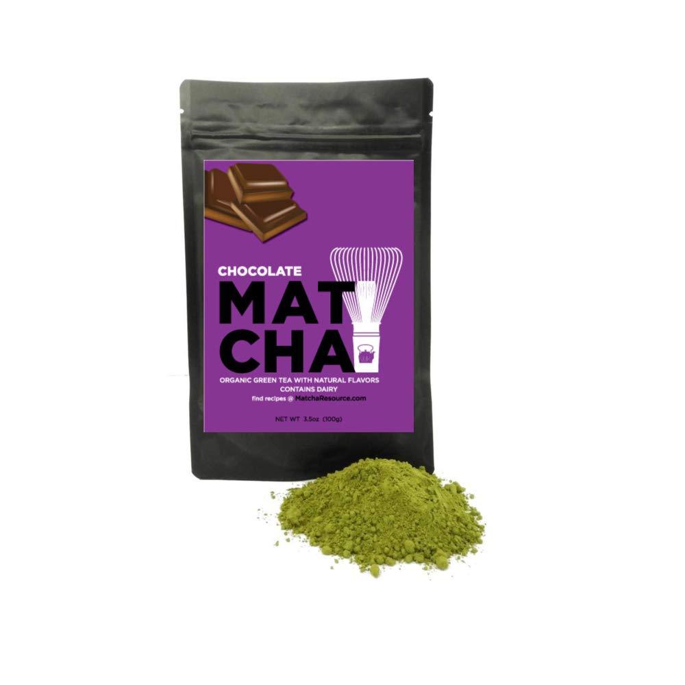 Whistling Kettle Organic Matcha Green Tea Powder - Refreshing & Energizing Tea with Natural Flavors - Chocolate, 3.5 oz Bag (100 grams)