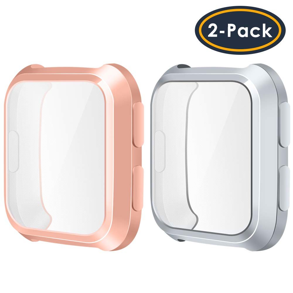 QIBOX Compatible with Fitbit Versa Screen Protector Case, 2-Pack Soft TPU Plated Case All-Around Protector Screen Cover Bumper Compatible with Fitbit Versa Smart Watch (NOT for Versa 2)