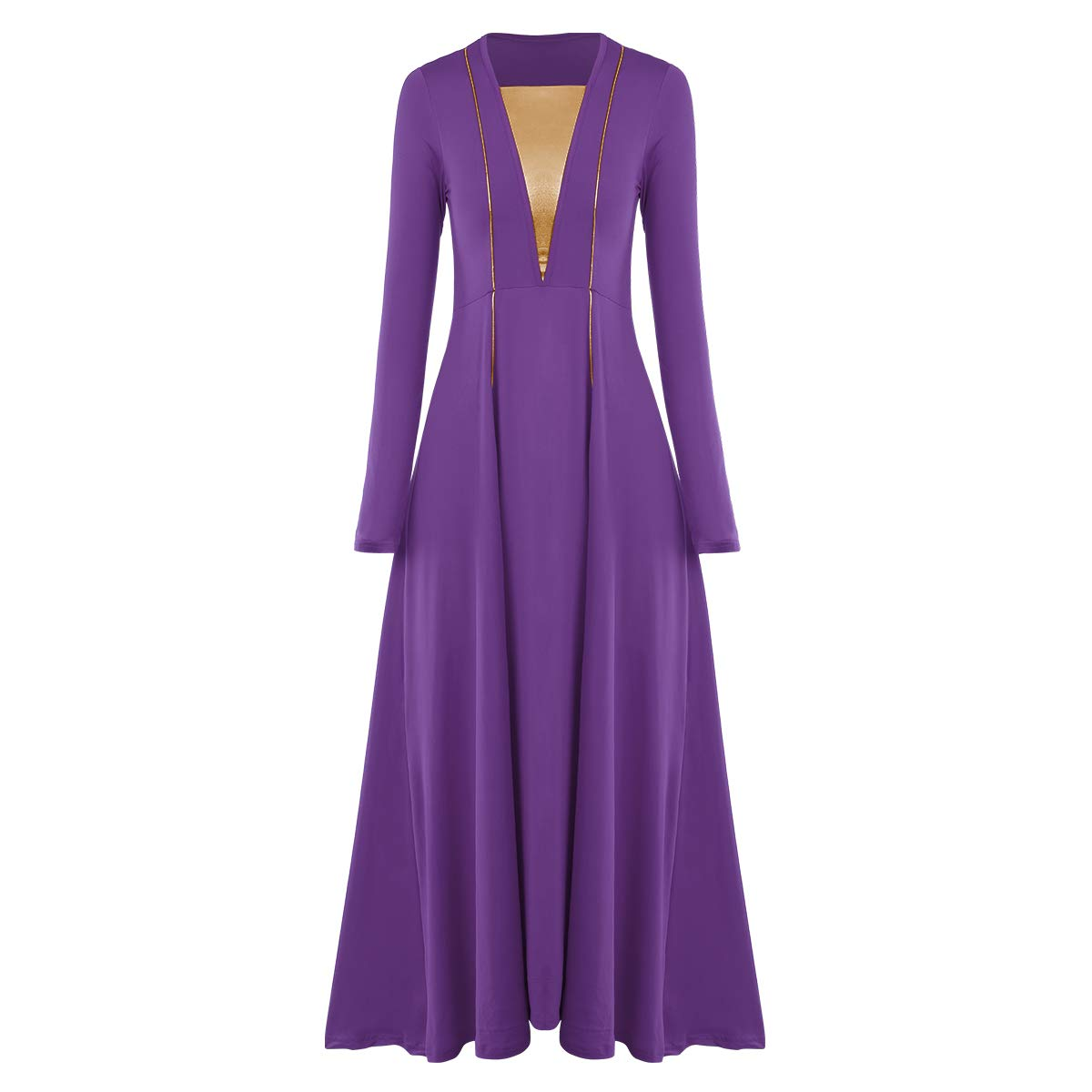 IBAKOM Womens Metallic V-Neck Long Sleeve Worship Praise Liturgical Full Dance Dress Metallic Gold Loose Fit Tunic Dancewear