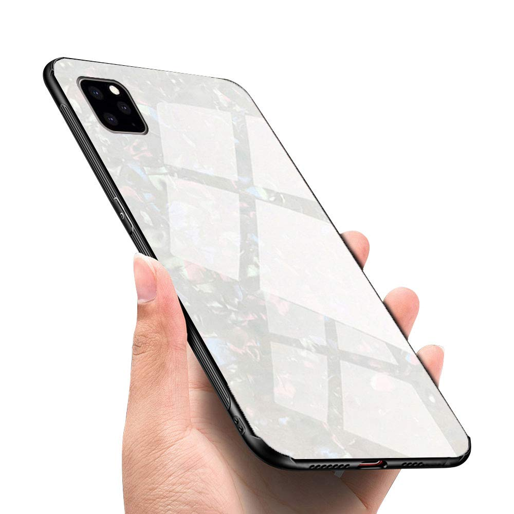 LANYOS Compatible iPhone 11 Pro Max Case, Ultra-Thin Tempered Glass Pattern Painted Back Cover + Soft TPU Bumper Frame (6.5 inch 2019) (White Shell)