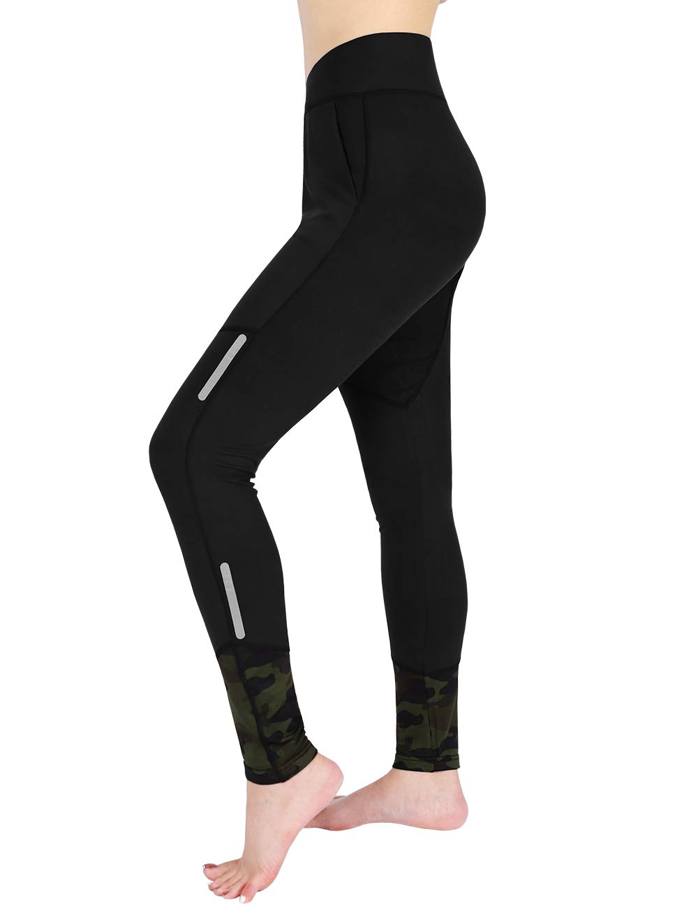 DISHANG Women's Fleece Lined Yoga Leggings with Pockets Winter Workout Running Pants with Camouflage Element