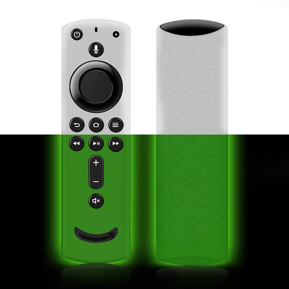 Remote Cover for Fire TV Stick 4K, Silicone Remote case for Fire TV Cube/Fire TV(3rd Gen) Compatible with All-New 2nd Gen Alexa Voice Remote Control, Lightweight Anti-Slip Shockproof (Green Glow)