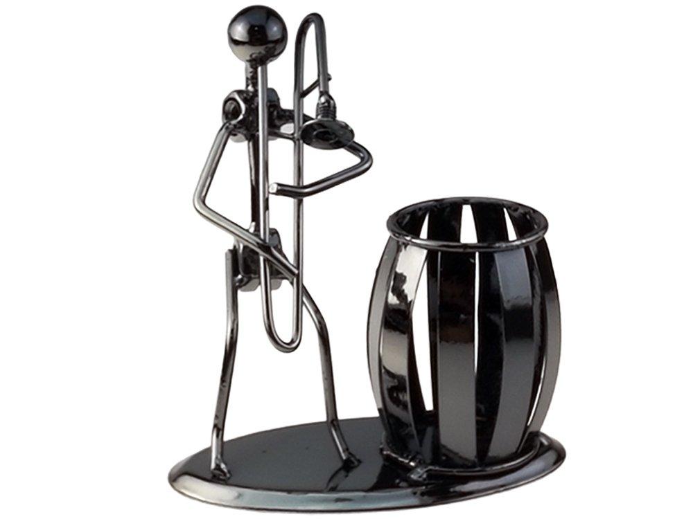 Music Iron Man Art Steel Pen Container Holder Pencil Cup Pot Secretary Desktop Music Decoration Toy Gift (C169 Trombone)