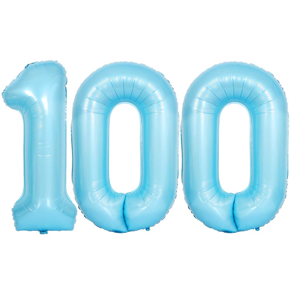 KEYYOOMY 40 in Number 100 Mylar Balloons Baby Blue 100 Day Party Balloon