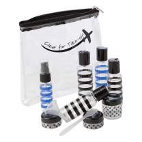 Miamica TSA Compliant Travel Bottles and Toiletry Bag Kit, 12 Piece, Striped