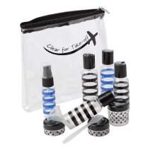 Miamica TSA Compliant Travel Bottles and Toiletry Bag Kit, 12 Piece, Striped