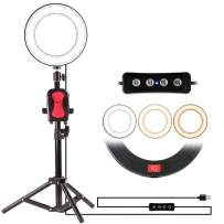 "8"" Selfie Ring Light with Tripod Stand for YouTube Video and Makeup,Natwag Led Desktop Ring Light,Cell Phone Holder Desktop LED Lamp Mini LED Camera Light with 3 Light Modes & 11 Brightness Level. …"