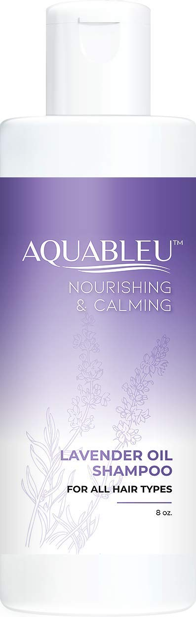 Aquableu Natural Lavender Shampoo – Gentle Ultra Calming Multitasking Cleanser - Nourishing & Restorative - Jojoba Oil - Sulfate & Paraben Free - For color treated hair - For Men & Women. (8 oz)