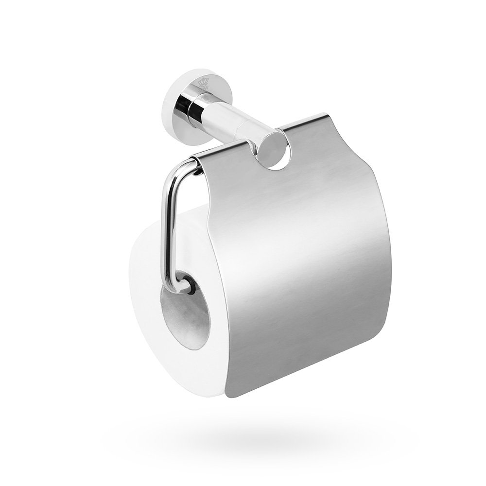 crw Toilet Paper Holder with Cover Chrome Toilet Tissue Roll Dispenser Bathroom Storage Dust-Proof, Cat-Proof, Dog-Proof 90111
