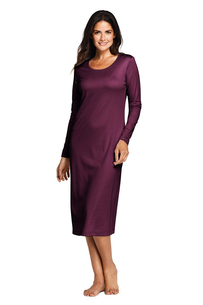 Lands' End Women's Supima Cotton Long Sleeve Midcalf Nightgown