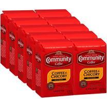 Community Coffee and Chicory Medium Dark Roast Premium Ground 16 Oz Bag (10 Pack), Full Body Rich Flavorful Taste, 100% Select Arabica Beans